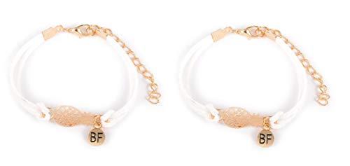 Imagen de strass & paillettes lote de dos pulseras de gamuza blanca con una piña dorada y una medalla bf. pulsera de piña best friend. pulsera para su mejor amiga
