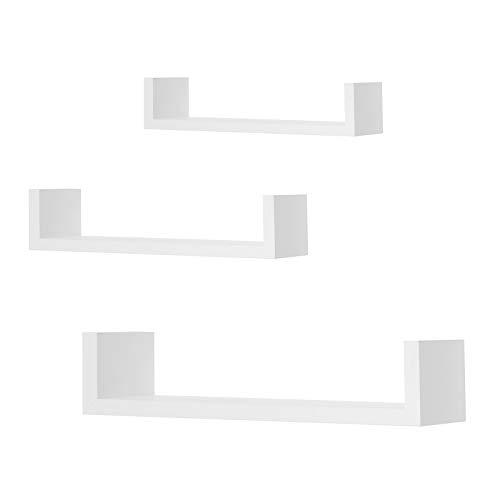 WOLTU RG9311-V Mensola da Muro Scaffale a Parete Decorazione per Cameretta Ufficio Libreria CD/DVD Legno MDF 3 Pezzi Diametri Diversi