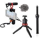 Movo - Videocamera per smartphone con mini treppiede, microfono per fucile, impugnatura, cinturino da polso per iPhone 5, 5C, 5S, 6, 6S, 7, 8, X (Regular e Plus), Samsung Galaxy, Note e altri