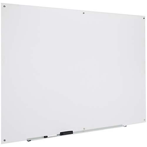 AmazonBasics - Pizarra de borrado en seco de vidrio - Esmerilada, no magnética, 1,82 x 1,21 m