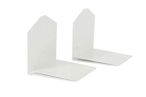 Lifa living mensole invisibili per libri in un set da 2, libreria a muro sospesa, scaffali piccoli in metallo, colore bianco, capacità fino a 6 kg