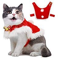 Pet Christmas Cloak Costume with Bells Soft Thick Fabric Pet Clothes Apparel Outfit Dress-up for Puppy Kitten Small Cats Dogs (S)