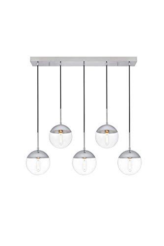 Dst Lampada a sospensione a sfera in vetro trasparente, 1 luce moderna argento cromato finitura, lampadario da soffitto per cucina, bar, sala da pranzo, argento, 5 light, E27 110.00volts