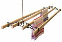 A CDGF Classic Traditional Clothes Airer 2.1 M White with Cast Iron Pulleys/Wheels
