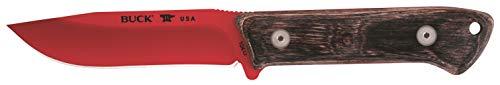 Buck Erwachsene Camp Knife Compadre, Stahl 5160, red powdercoated, stabilisiertes Walnussholz, Schwarze Lederscheide Messer, Mehrfarbig, One Size