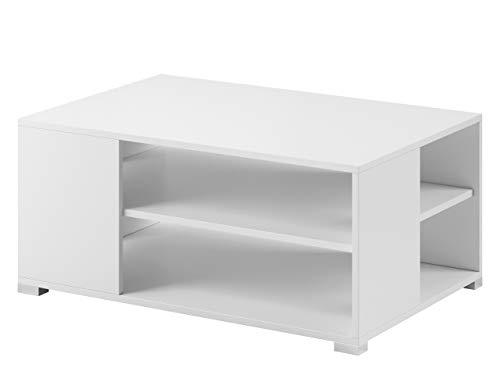 Mirjan24 Couchtisch Korti SL90, Sofatisch, Beistelltisch, Wohnzimmertisch, Stylischer Kaffeetisch mit geräumigen Ablagefach (Weiß)
