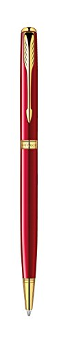 Great Buy for Parker Sonnet Slim Red Lacquer Gold Trim Ball Pen – Gift Boxed Online