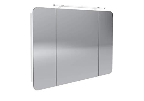 FACKELMANN LED Spiegelschrank Milano/Badschrank mit 3D Effekt/Soft-Close/Maße (B x H x T): ca. 110 x 78 x 15,5 cm/Schrank mit Spiegel & LED-Beleuchtung fürs Bad / 3 Türen/Korpus: Weiß