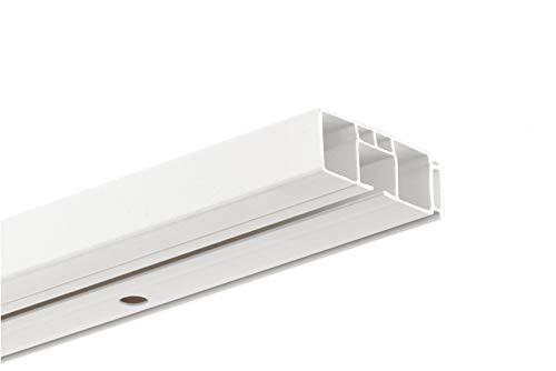HUGG-Vorhang-Schiene (VS.380.1) 1-/ 2-/ 3- Lauf, Decken-Montage, Ihre Auswahl: 1-Lauf - Länge: 150 cm
