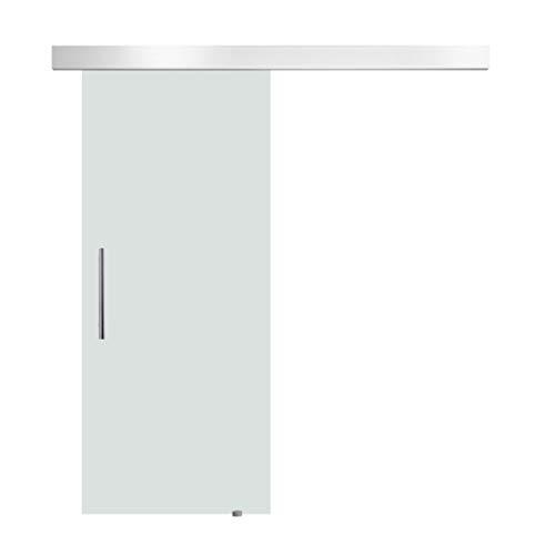 Homcom porta scorrevole interna in vetro smerigliato con binario e maniglia per bagno cucina studio 205 x 77,5 x 0,8cm