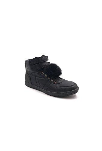 CHIC NANA . Chaussure Mode Baskets femme style similicuir métalisé, double scratch cheville. Noir