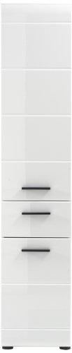 trendteam Badezimmer Hochschrank Schrank Skin Gloss, 30 x 182 x 31 cm in Weiß Hochglanz mit viel Stauraum