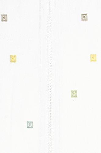 Clipraffstore Ilona ungeclipst 145cm lang x 82cm breit weiß mit farbigen Vierecken gelb, grün, braun
