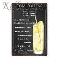 TinSIGNS Tom Collins Cocktail Metallschild Blechschild Home Decor Bar Wall Art Gemälde Tom Collins Cocktail