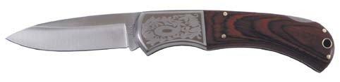 couteau pliant, poignée bois, ornamentation