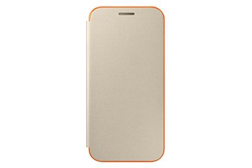Samsung Coque Folio à Rabat pour Samsung Galaxy A3 2017 - Doré/Orange Fluo