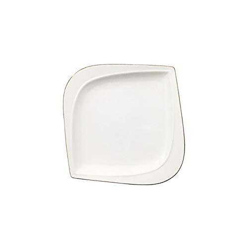 e Steakplatte quadratische Platte kreative nordische einfache Haushaltsgeschirr Phnom Penh Platte Goldrand 8 Zoll ()