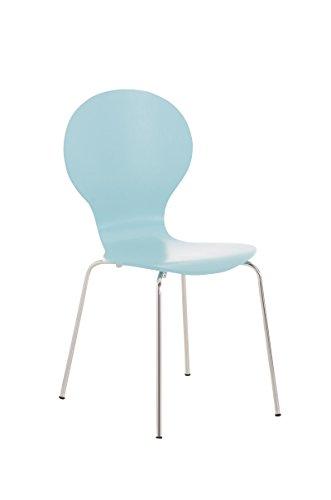 CLP Stapelstuhl Diego ergonomisch Geformter Konferenzstuhl mit Holzsitz und stabilem Metallgestell I...