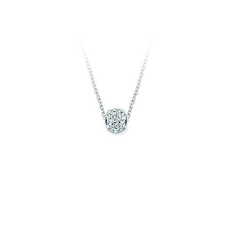 Sterling Silber rhodiniert 10mm APR weiß Kristall Barrel Bead Lite Seil Kette Halskette–46Cent