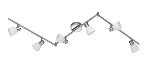 Trio Leuchten LED-Schiene Carico, nickel matt / chrom, Glas weiß gewischt 871510607