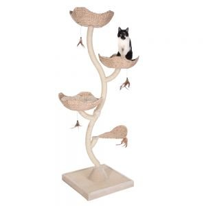 Flower-Shaped Cat Tree With Reversible Cushions, A Thick Base Plate With Scratch Mat And Sisal-Wrapped Metal Pillars - Provides Lots Of Space For Claw Sharpening, Playing And Dozing By eCommerce Excellence from Cat Tree