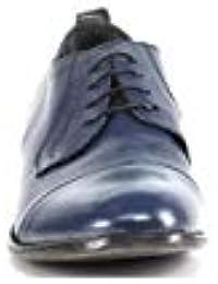 moma shoe - Zapatos de Cordones de Cuero para Hombre Azul BLU \Avio