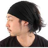 Casualbox Herren Kopf Abdeckung Band Bandana Stretch Haar Stil Japanisch Schwarz