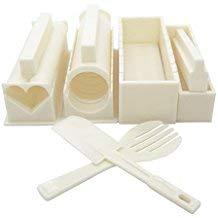 Uca 10 Kit per preparare il Sushi DIY-Set da Chef per riso, la muffa, colore: bianco