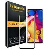 UniqueMe per LG V40 ThinQ Pellicola Protettiva, [1 Pack] Alta qualità [3D Full Coverage] Vetro temperato [Case Friendly] con Garanzia di Sostituzione a Vita - Nero