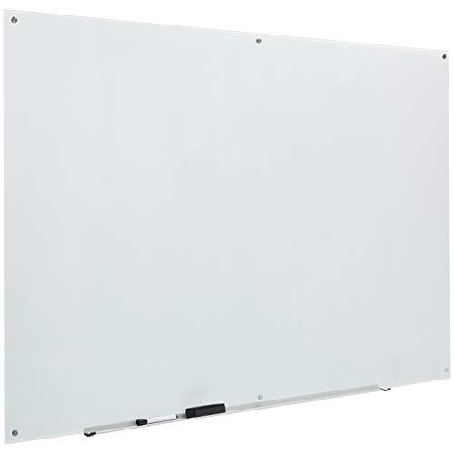 AmazonBasics - Pizarra de borrado en seco de vidrio - Blanca, magnética, 1,82 x 1,21 m