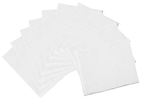 ZOLLNER 10er Set Waschlappen für Babys aus Baumwolle, 17x22 cm, weiß
