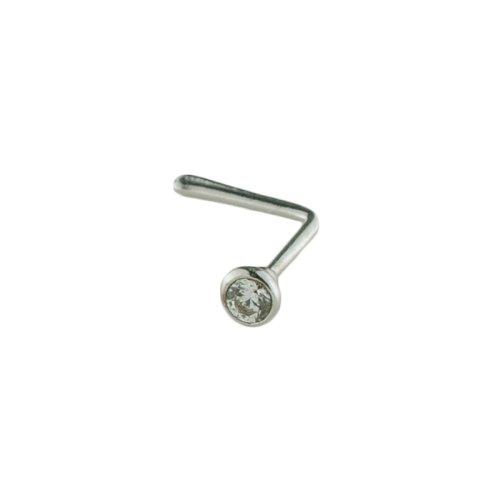 Mia Gioielli - Piercing Naso Oro 750 con Zircone Bianco 1.50, Piercing Anallergico, F-05517-0B09