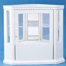 Mobiletto Angolare con Antine a Vista Bianco in Legno in Miniatura per Casa delle Bambole 5445