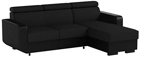 mb-moebel Ecksofa mit Schlaffunktion Eckcouch mit Bettkasten Sofa Couch Wohnlandschaft L-Form Polsterecke Pedro (Schwarz, Ecksofa Rechts)