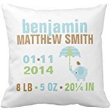 Blue And Green Elephant Baby Birth Announcement Throw R513216f86b3e4142b7fccd9429aa6ed3 I5fqz 8byvr Pillow Case