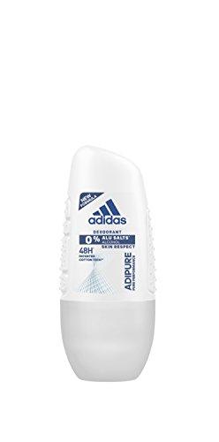 adidas adipure Deo Roll-on für Damen - Deodorant ohne Aluminium & Alkohol für 48h effektiven Deo-Schutz - pH-hautfreundlich - 1 x 50 ml - Adidas Deo-antitranspirant
