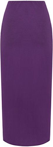 WearAll - Plain élastiquée Maxi longueur - Jupes - Femme - Grandes Tailles 42-56 Violet