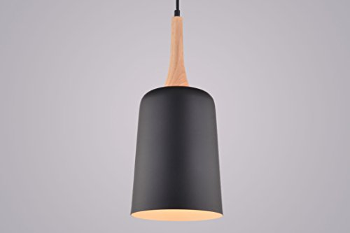 CAGUSTO Pendelleuchte Orbo II Schwarz Metall Schirm Holz Natur Modern Design Hängeleuchte