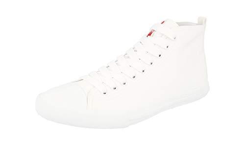 Prada Gabardine Herren Sneaker, Segeltuch, Weiß, Weiá (Bianco), 40.5 EU