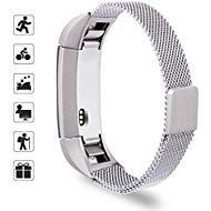 TOMALL Ersatz-Armband für Fitbit Alta und Alta HR, aus Edelstahl und Metall, Silber, Größe S