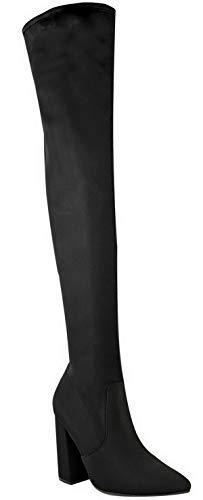 Miss Image UK Damen Spitz Blockabsatz Überknie Stretch Hoch Schenkelhoch Stiefel Größe - Schwarz Lycra, 39