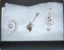 Boxed Gift Set of 3 Pewter Pin Badges-Music Stratocaste Guitar, Treble Clef, Bass Clef,