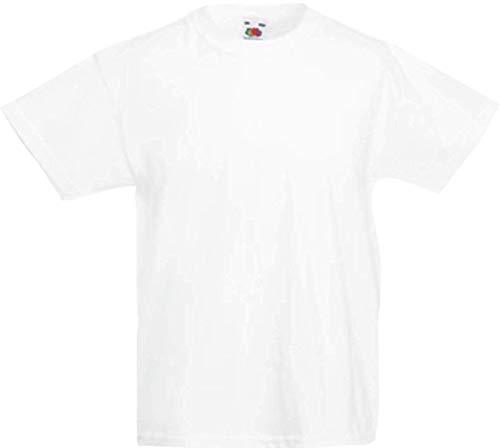 Trendige Kinder T-shirts (ShirtInStyle Kinder-Shirt Basic UNI Fruit of the Loom, Farbe Weiss, Größe 140)