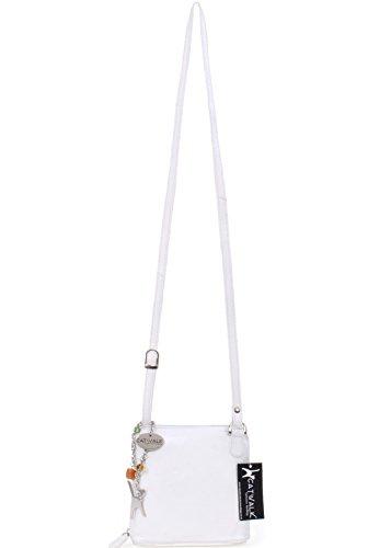 """Umhängetasche """"Lena"""" aus Leder von Catwalk Collection - GRÖßE: B: 16.5 H: 16 T: 8 cm Weiß"""