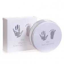 bam bam Ton Eindruck Handabdruck Fußdruck Set in Zinn - Neues Baby Geschenk Zinn Geschenk-set