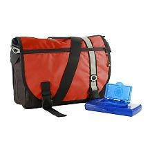DadGear Courier Diaper Bag Retro - Red Stripe