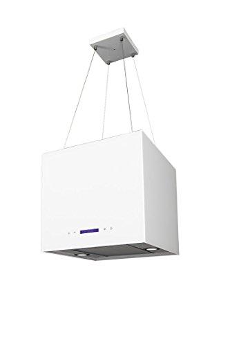 Inselhaube 40 cm Weiss 2-Fach Aktivkohlefilter Umluft höhenverstellbar bis 1,5m Dunstabzugshaube mit Timer 2xLED Beleuchtung Haube Küche Dunstabzugshaube Sandy mini