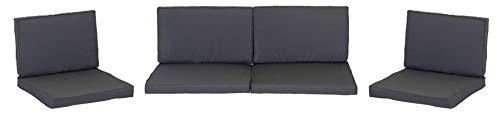 beo Loungekissen Ersatz für Monaco Set Gruppen Austauschkissen wasserabweisend Set mit 8 Kissen, 5 cm dick, anthrazit/schwarz