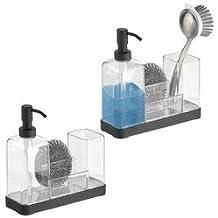 mDesign Dosificador de jabon recargable – Dispensador de jabon con soporte para esponja, estropajo y