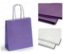 10 Lavender / Lilac Paper Party Bags With Tissue Paper - Recyclable Twist Handle Gift Bag